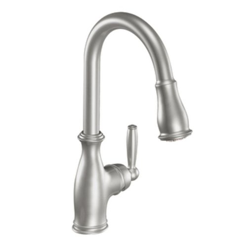 Check Out This Moen 7185CSL Brantford One-Handle High Arc Pull-down Kitchen Faucet, Classic Stainles...
