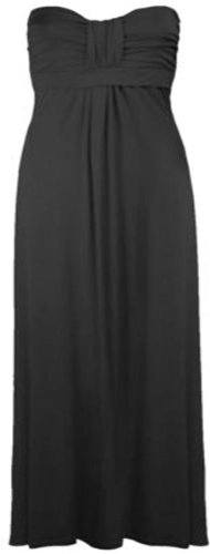 Womens Plus Size Boob Knot Maxi Strapless Stretch Summer Beach Maxi ( Black , 2X Fits 20-22 )