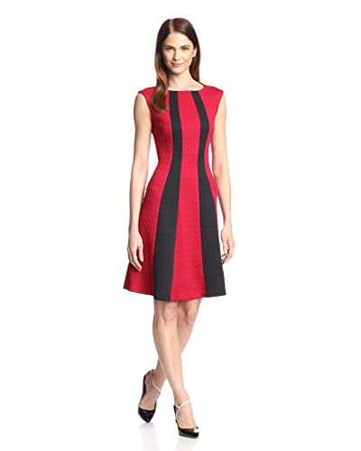 London Times Women's Colorblocked Fit-and-Flare Dress