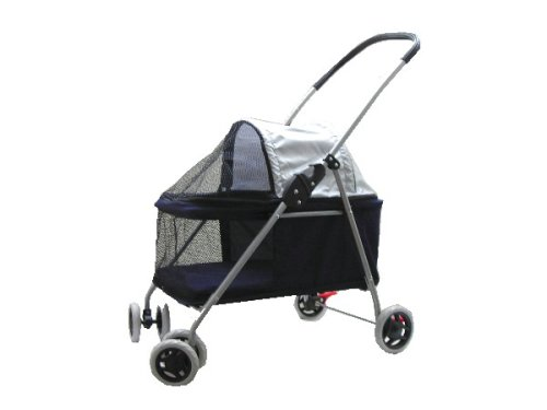Pet Dog Cat Bed Stroller Carrier Navy Blue