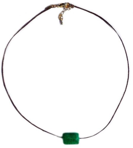 Brown cord green Jade Necklace