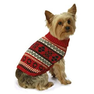 York Dog Nordic Fair Isle Knit Pattern Mock Neck Sweater - Red, Large by New York Dog