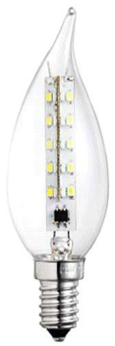 Ag-Eco Led Candelabra Flame Tip Light Bulb, C32, Clear, 2.2 Watt, Replacement For 25 Watt Classic Light Bulb