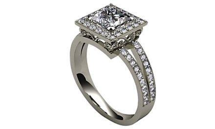 Moissanite 18ct White Gold 1.55 Carat Square Shaped Ring - Zoe Kay Jewellery