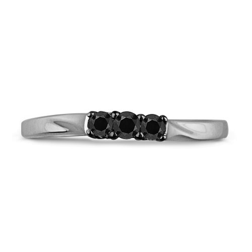 Platinum Plated Sterling Silver Round Diamond Black Three Stone Promise Ring (1/6 cttw)