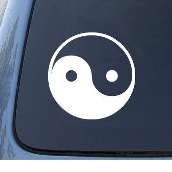 YIN & YANG - Asian - Car, Truck, Notebook, Vinyl Decal Sticker #1040   Vinyl Color: White