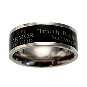 "Christian Mens Stainless Steel Abstinence 9mm Black ""The Armor of God: Truth, Righteousness, Peace, Faith, Salvation, The Word, Prayer"" Ephesians 6:10-18 Deluxe Scripture Band Chastity Ring for Men - Guys Purity Ring"