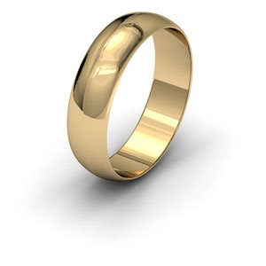 9ct Yellow Gold, 5mm Wide, 'D' Shape Wedding Ring