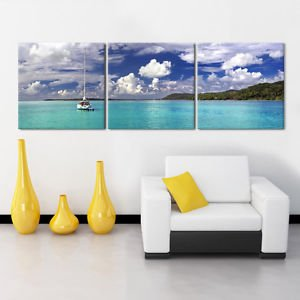 "Seascape/Ready To Hang Digital Art Panels/Design For Upgrading Canvas Art Prints,Size::16""X16""X1""(Each Panel)X3Panels"