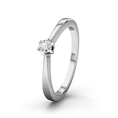21DIAMONDS Women's Ring Madagaskar VVS1 0.1 ct Brilliant Cut Diamond Engagement Ring in 14 K White Gold Engagement Ring