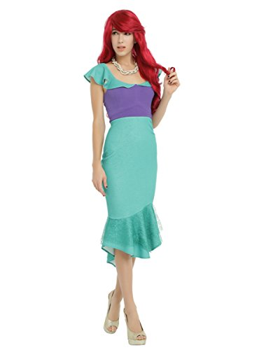 [Disney The Little Mermaid Ariel Cosplay Ruffle Dress] (Ariel Dress For Adults)