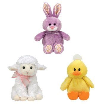 Ty Basket Beanie Babies - Easter 2011 Complete Set Of 3 (Bloom, Fleecia & Puddles) back-967395