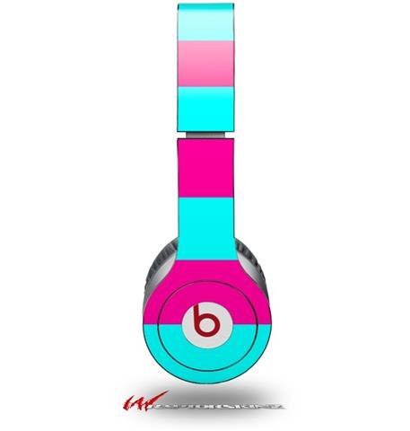 Wraptorskinz Kearas Psycho Stripes Skin For Beats Solo Hd Headphones, Neon Teal/Hot Pink