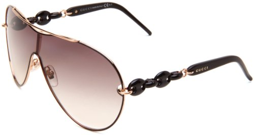 Gucci Women's 4203/S Shield Sunglasses,Cocoa,red & Gold Frame/Brown Gradient Lens,One Size