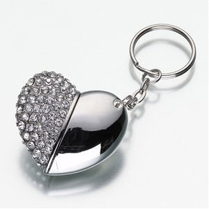 High Quality 8 GB heart Shape Crystal Jewelry USB Flash Memory Drive Keychain from T &  J