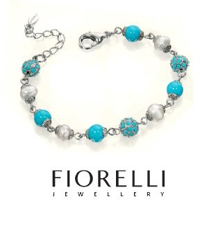 Turquoise and Pearl Bracelet by Fiorelli