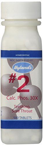 Hyland's Cell Salts #2 Calcarea Phosphorica, 30X Tablets, Natural Homeopathic Teething and Sore Throat Relief, 500 Count