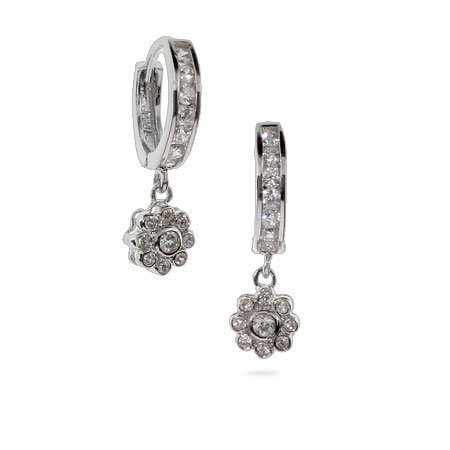 Darling Flower CZ Huggy Earrings
