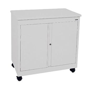 "Sandusky Lee RF1F301826-05D Dove Gray Steel Mobile Utility Cabinet, 1 Shelf, 30"" Height x 30"" Width x 18"" Depth"