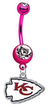 Kansas City Chiefs NFL PREMIUM Pink Titanium Anodized Sexy Belly Navel Ring Amazon.com