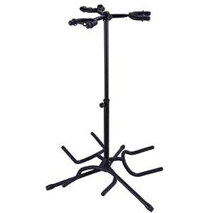 electric acoustic guitar bass display triple guitar stand multiple 3 holder black. Black Bedroom Furniture Sets. Home Design Ideas
