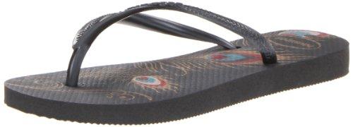 Womens Black Flip Flops front-484660