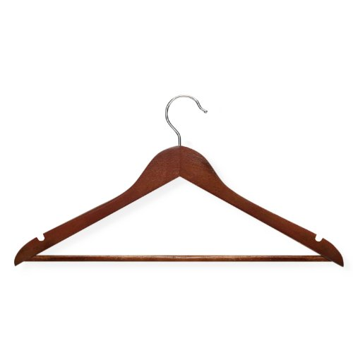 Honey-Can-Do HNG-01335 Wood Hangers with Non-slip Grooved Bar, 24-Pack, Cherry