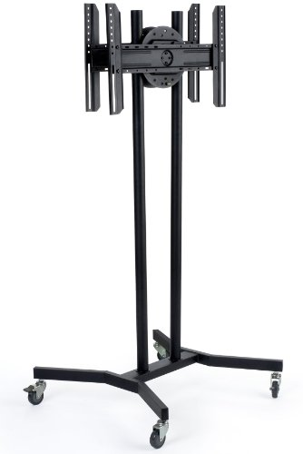 """Lcd Tv Stand, Double Sided For Two Flat Screens Up To 60"""", Height-Adjustable Brackets, Floor-Standing Monitor Display Fixture With Wheels- Black Metal"""