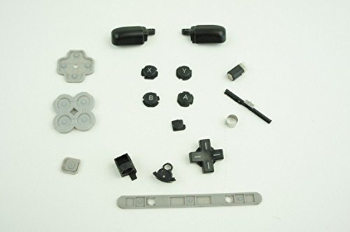 AWCHIP Complete Black Button Set Rubber Pad hinge parts Lock Axle Shaft Hinge Barrel For Nintendo 3DS XL (Slide Pad 3ds Xl compare prices)