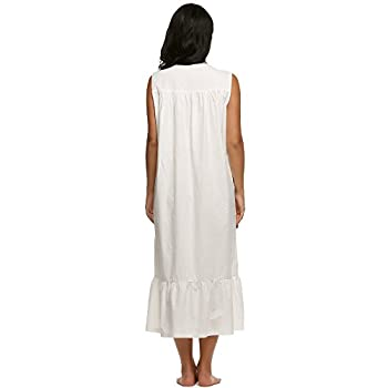 Ekouaer Womens Nightgown 100% Cotton Victorian Long Sleeveless Sleepwear S-XL
