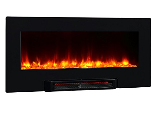 PuraFlame Provo 36- Inch Remote Control Portable & Wall Mounted Flat Panel Fireplace Heater, 1350W, Black (Wall Mount Electric Room Heater compare prices)