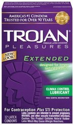 Trojan Pleasures Extended - Extend Your Pleasure With Just A Hint Of Numbing Agent 12pk