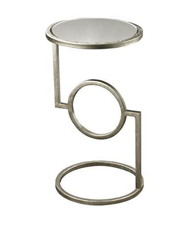 Artistic Lighting Mirrored Top Hurricane Side Table, Antique Silver