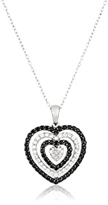 """Sterling Silver Black Spinel White Topaz and Diamond Heart Pendant Necklace, (0.07 Cttw, H-I Color, I3 Clarity), 18"""""""