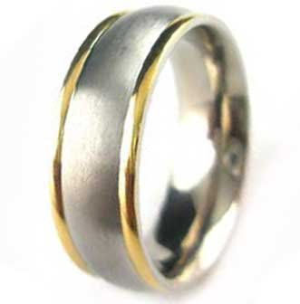 7MM Polished Stainless Steel Ring with 2 Gold Plated Edges