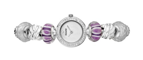 Charmed by Accurist Lilac Aura Women's Quartz Watch with Mother of Pearl Dial Analogue Display and Silver Bracelet LB1712PU