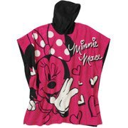 Disney Girls' Minnie Mouse Soft & Cozy Fleece Hooded Poncho - 1