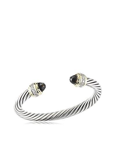 David Yurman Sterling Silver Cable Bangle Bracelet with 18K Yellow Gold, Smoky Quartz & Diamonds