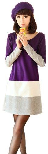 (アンフィニ) infini ラウンドネックバイカラーボーダーワンピース 紫 青 L LL 3L 4L 大きいサイズ