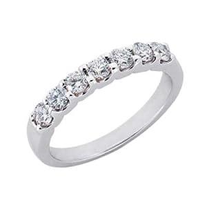 14k White Shared Prong 0.66 Ct Diamond Band Ring - Size 7.0 - JewelryWeb