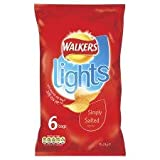 Walkers Lights Simply Salted Crisps 6 X 24G