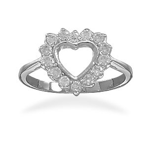 Rhodium Plated Cut Out CZ Heart Ring (9)