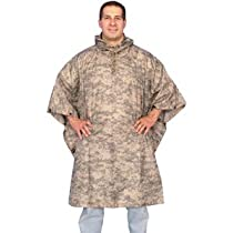 ACU Digital Camouflage Adult Waterproof Rain Poncho - 57 x 88, Rip-Stop Emergency All-Weather Cover
