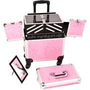Quick Professional Rolling Makeup Case w/ Multiple Trays - Pink Alligator