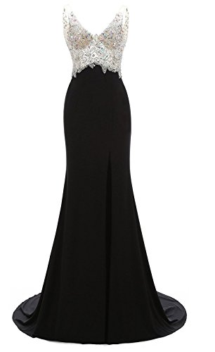 Manfei-Womens-V-Neck-Crystal-Beaded-Mermaid-Black-Long-Prom-Dress-Slit-Side