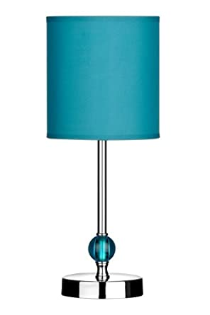 Premier Housewares Chrome Stem Table Lamp with Acrylic Ball and Fabric Shade - Teal