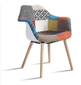 Sill�n vintage estilo retro tapizado patchwork. Sill�n de dise�o. Sill�n de tela, estilo n�rdico. Sill�n pl�stico con patas de madera. PEDIDO MINIMO 4 SILLAS. ST016 - BeatPatchwork4