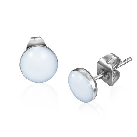 Urban Male White Resin & Stainless Steel Men's Stud Earrings 7mm (Pair) (White Resin Earrings compare prices)