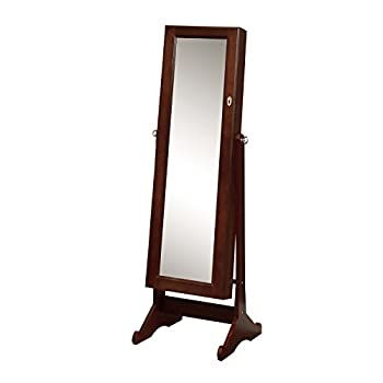 BTEXPERT Premium Cherry Cheval Mirror Jewelry Cabinet Armoire Box Floor Stand Storage Organizer Case Drawer Safety Lock