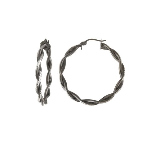 Sterling Silver Double Row Twist Hoop Earrings (1.38
